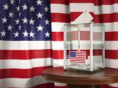 Ballot box with flag of USA  and voting papers. Presidential or parliamentary election in USA. 3d il poster