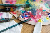 fine art, creativity and artistic tools concept - close up of palette knife or painting spatula, bru poster