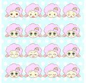 Emoticons, Emoji, Smiley Set, Colorful Sweet Kitty Little Cute Kawaii Anime Cartoon Cat Kitten Girl poster