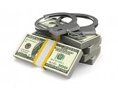 Handcuffs and money on white background. Isolated 3D illustration poster