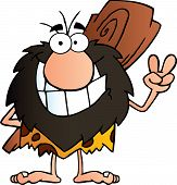 picture of caveman  - Happy Caveman Gesturing The Peace Sign With His Hand Illustration - JPG