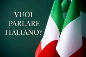 some flags of Italy and the question voi parlare italiano?, do you want to speak Italian? written in poster