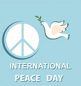 Greeting pastel blue card with paper cut out dove and peace symbol for International Peace day poster