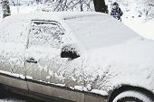 Parked Car Covered With Snow - Snow Storm, Car After A Heavy Snowfall, A Lot Of Snow On The Car, Car poster