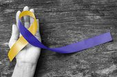 World Down Syndrome Day Wdsd March 21 Blue Yellow Awareness Ribbon On Helping Hand For Raising Suppo poster