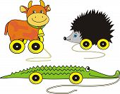 stock photo of baby cowboy  - Vector Set of baby toys on wheels  - JPG