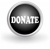 stock photo of tithe  - round black and white donate button or icon for web design - JPG