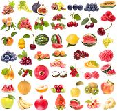image of fruits vegetables  - Set of fruits and vegetables isolated on white background - JPG