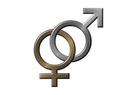 pic of male female  - male and female symbols linked together as one - JPG
