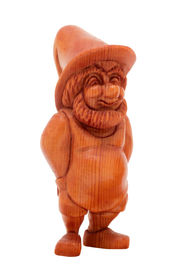 picture of  midget elves  - very cute figurine of a gnome made out of wood - JPG