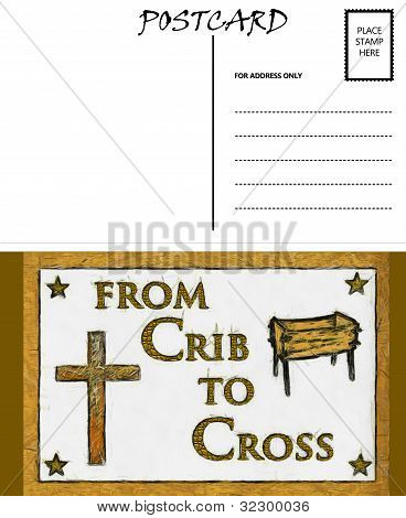 Empty Blank Postcard Template Crib And Cross Image