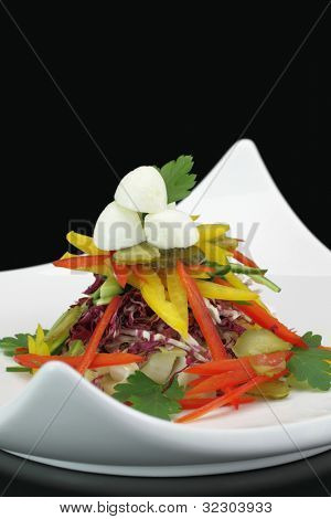 Vegetables salad with mozzarella