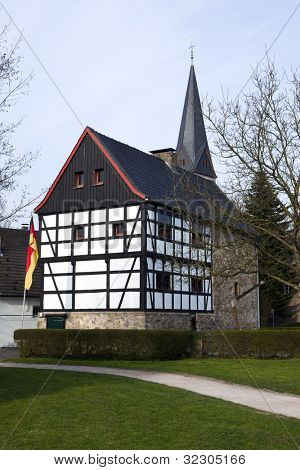 Half-timbered medieval house at Haan-Gruiten near Wuppertal, Country of Berg