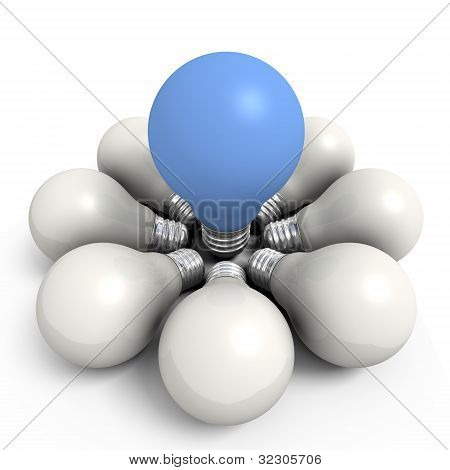Blue Bulb In A White Group