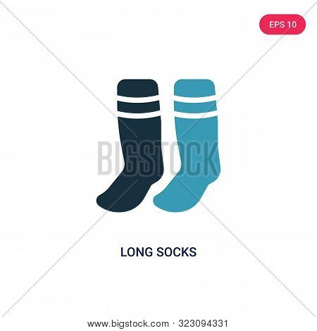 poster of long socks icon in two color design style.