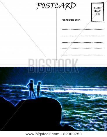 Empty Blank Postcard Template Sea Couple Image