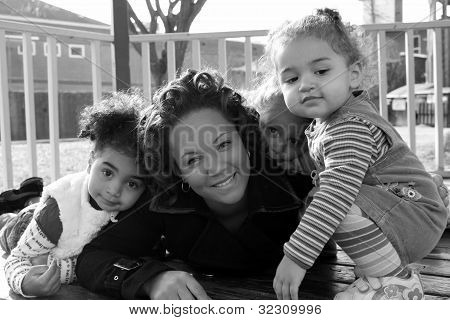 Pretty mother and her children