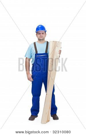 Construction Worker With Wooden Plancks