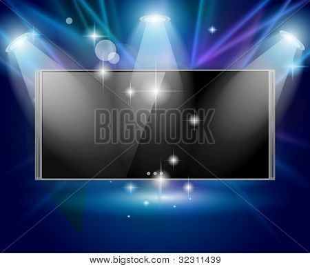 Magic Spotlights with Blue rays and glowing effect featuring a cinema tv panel. Every lights and shadows are transparents.