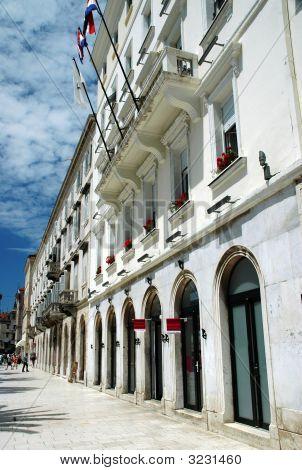 Storefront Facades And Promenade In Split Croatia