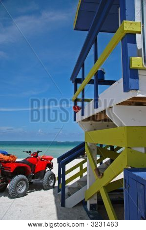 Lifeguard Tower And Atv On South Beach