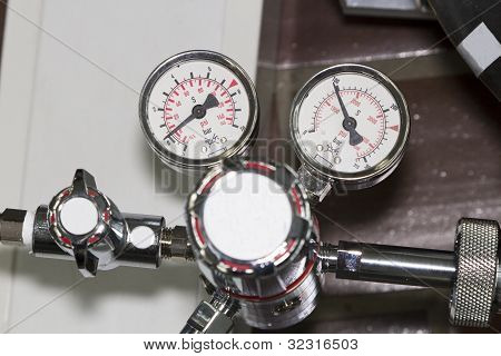 Two manometers  with valve - close up