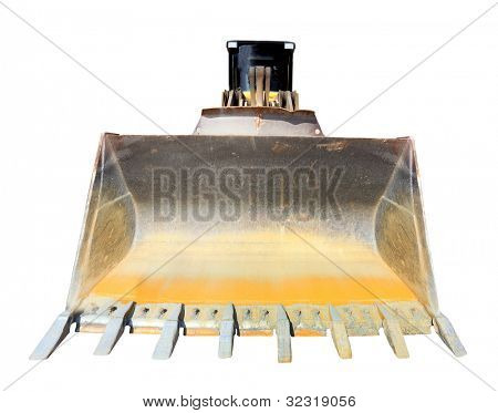 The bulldozer isolated on a white background.