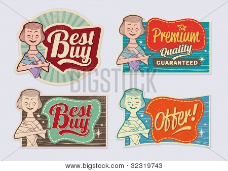 Retro vintage advertising labels - editable vector images with removable grunge texture