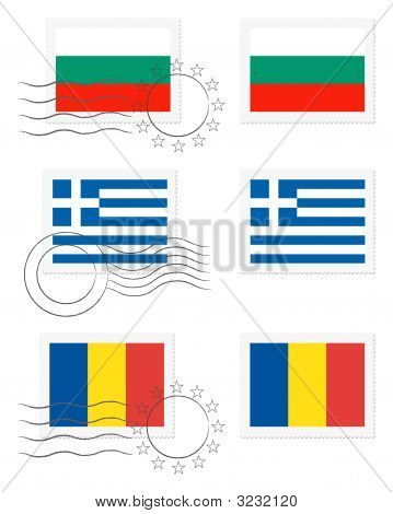 Bulgaria, Greece And Romania - Flags On A Stamp