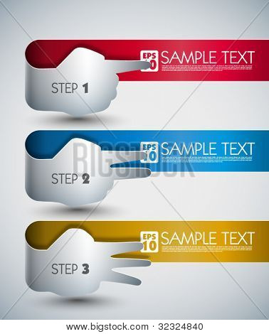 Vector Banners with Hand Signs and Your Messages