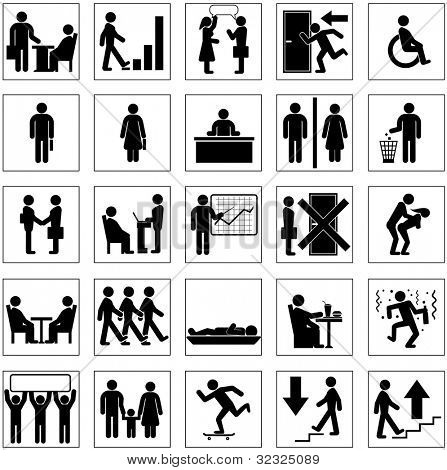 Silhouette Icons with Business People Situation