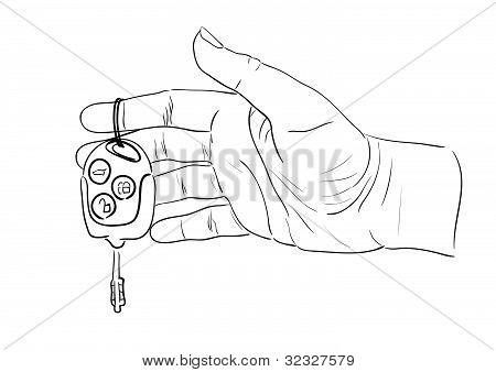 Woman's hand giving key from car