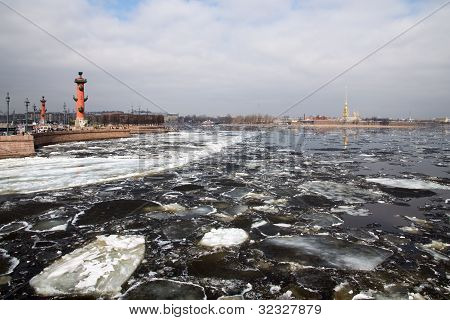 Ice Drift On The River Neva. View Of St. Peter And Paul Fortress And The Arrow Of Vasilevsky Island