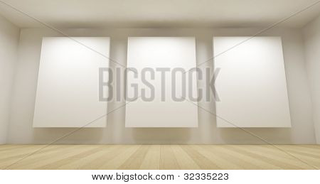 Clean school room, empty 3d space with three white frames