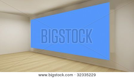 Clean gallery with blue chroma key backdrop, 3d art