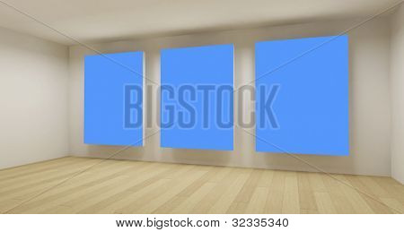 Medical room, 3d art with empty space, blue chroma key
