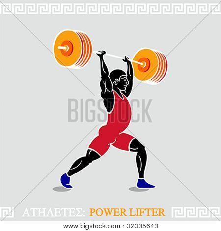 Greek art stylized heavy weight power lifter