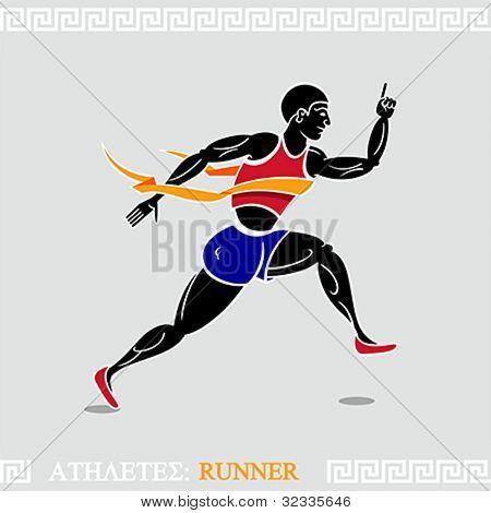 Modern runner stylized according ancient greek art