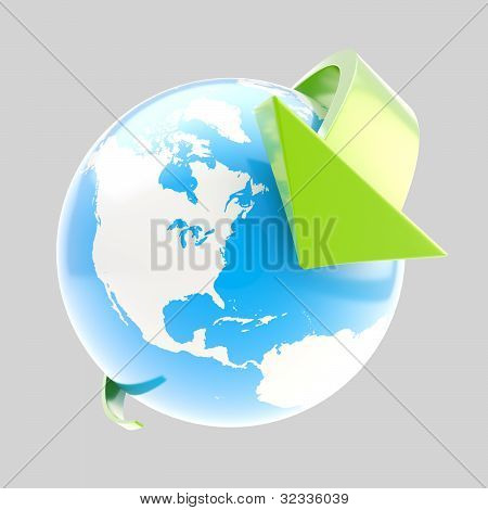 Earth globe symbol with arrow orbit