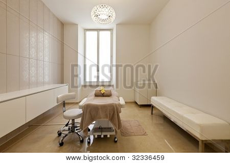 Interior of massage room in a spa salon