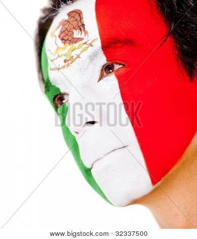 Mexican man portrait - isolated over a white background