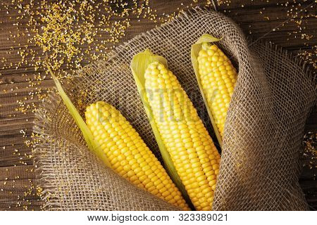 poster of Grains Of Ripe Corn On Wooden Background.fresh Corn On Cobs On Rustic Wooden Background In Burlap Ne