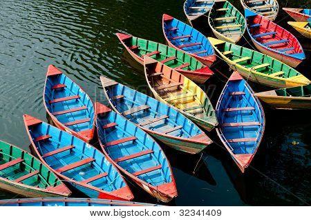 boats in Phewa Lake