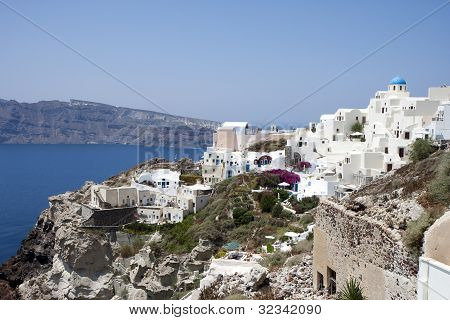 Village Of Oia In Santorini, Greece.