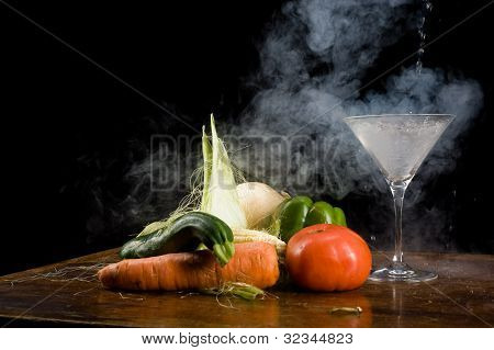 Vegetables And Liquid Nitrogen
