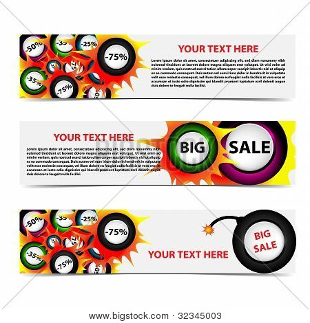 Set Of Horizontal Sale Banners