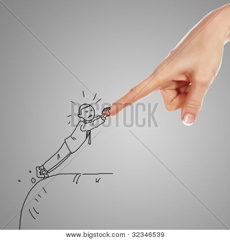 Drawing of a human hand supporting a person
