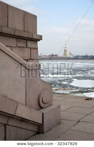 Granite Quay Vasilevsky Island On The Background Of The Fortress. St. Petersburg.