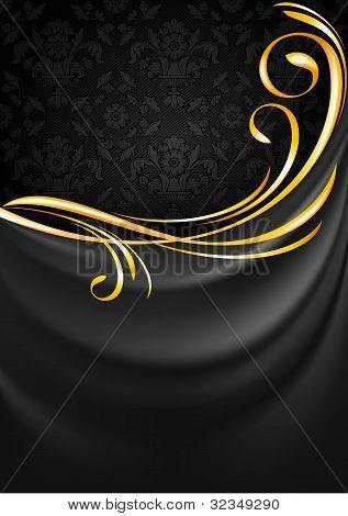 Dark gray fabric curtain background. Gold vignette