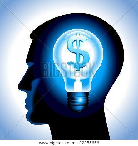 la idea de ganar dinero. la silueta de una cabeza humana con una lámpara y un dólar. Archivo se guardará en AI
